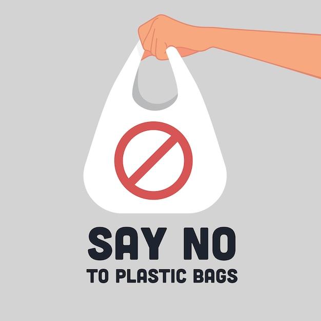 Скажи нет пластиковым пакетам знак логотип Premium векторы