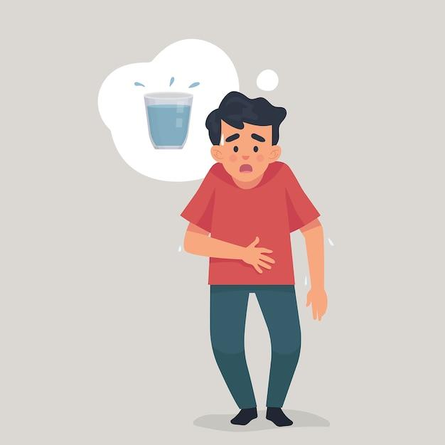 Молодой человек испытывает жажду и думает о воде Premium векторы