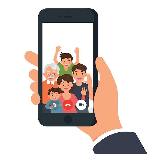 家族のビデオ通話 Premiumベクター