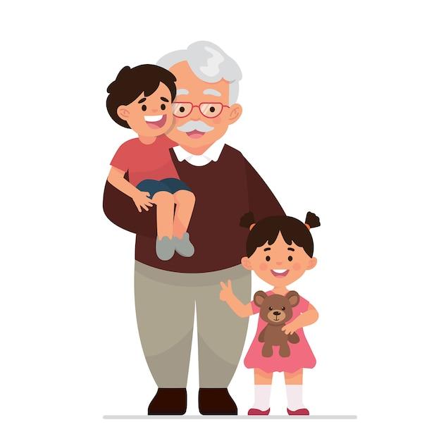 Дедушка и внуки Premium векторы