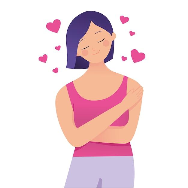 Молодая леди обнимает себя с любовью, люби себя Premium векторы