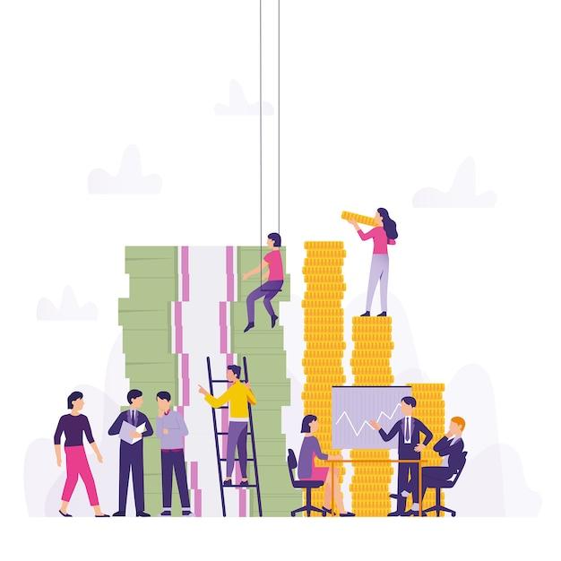 チームは利益と事業投資を維持するために協力します Premiumベクター
