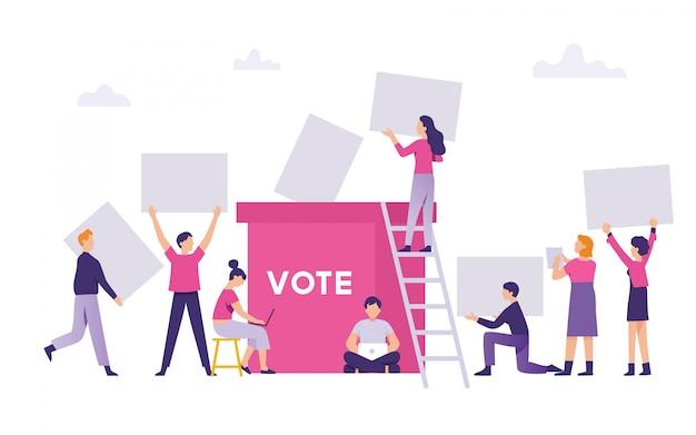 人々は総選挙の投票結果を選挙ボックスに持ち込みました Premiumベクター