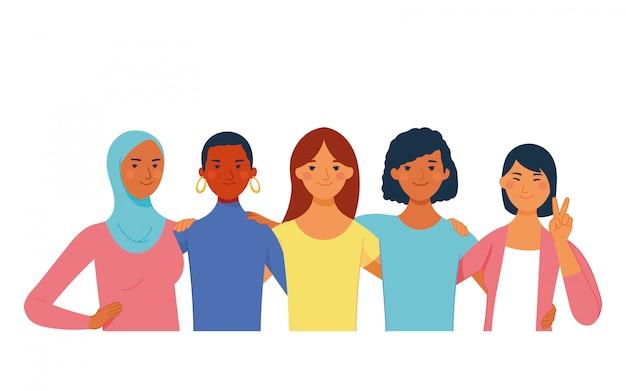 国際女性の日の多様な女性、異なる人種、肌、宗教、文化、髪 Premiumベクター