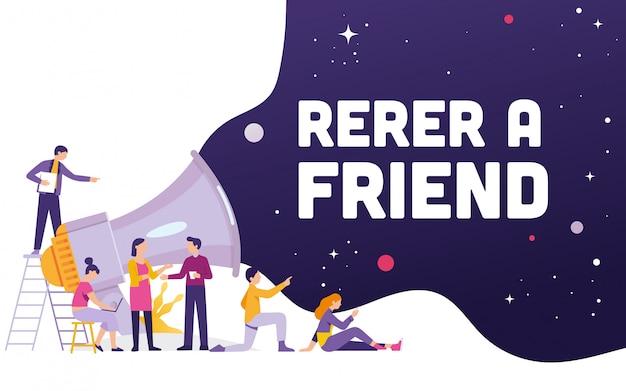 友人の単語の概念と大きなメガホン Premiumベクター