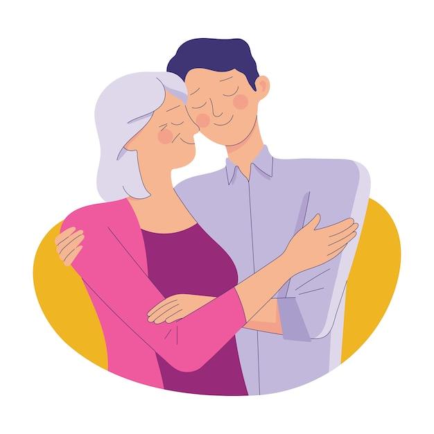Молодой человек обнимает свою старую мать с любовью, мать и сын любят как семью Premium векторы