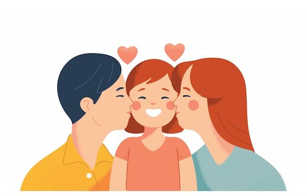 父と母は娘たちに愛を込めてキスする Premiumベクター