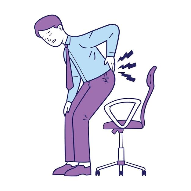 青年実業家は腰痛のために彼の腰を保持します Premiumベクター