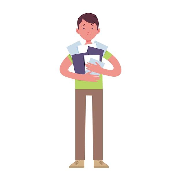 若いビジネスマンは仕事で疲れているので、手でたくさんの紙を持っています Premiumベクター