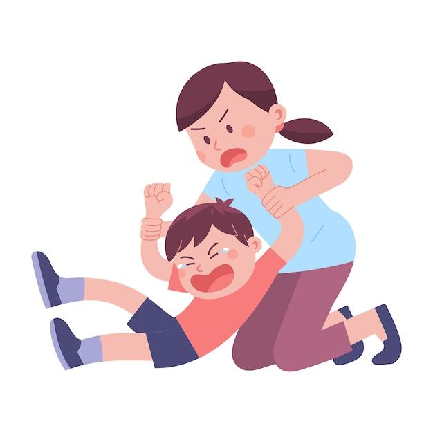若い母親が反抗と大声で泣くために息子の両手を持っています Premiumベクター