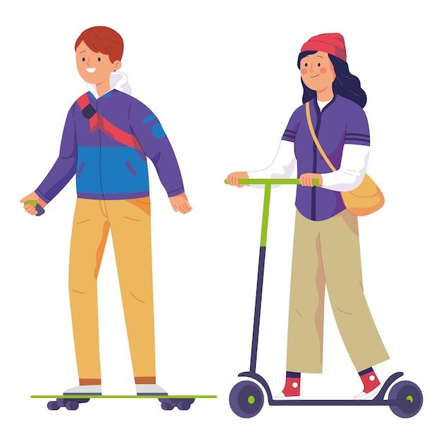 Юноши катаются на электрических скейтах, а женщины катаются на электрических скутерах Premium векторы
