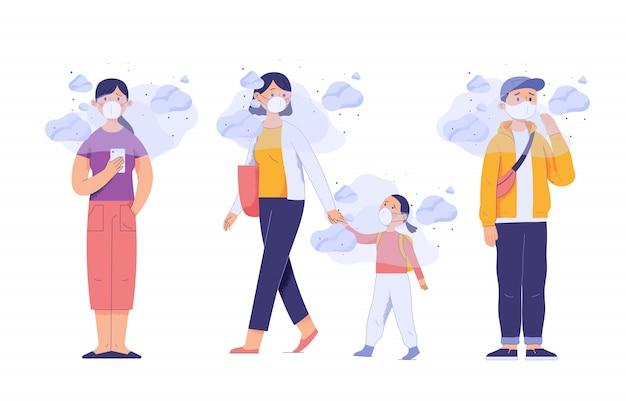 Люди и маленькие дети носят маски на лицах из-за загрязнения города, которое наносит вред здоровью Premium векторы