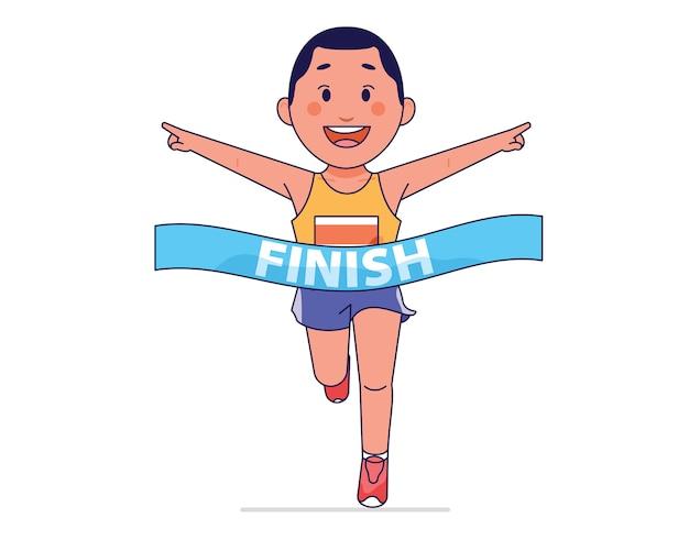 少年が勝つとフィニッシュラインで走っている選手 Premiumベクター
