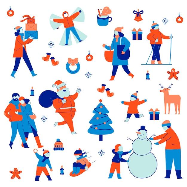 Набор групповой иллюстрации рождественских и зимних праздников Premium векторы