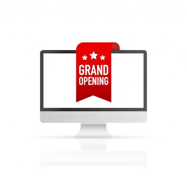 スクリーンコンピューターの赤いリボングランドオープン。ベクトルイラスト Premiumベクター