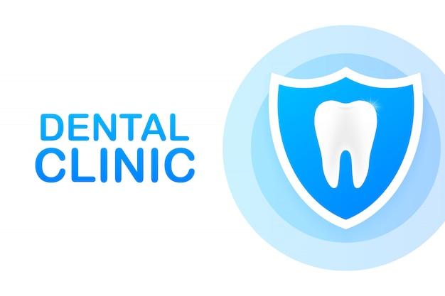 Стоматологическая клиника концепции баннер с характером. Premium векторы