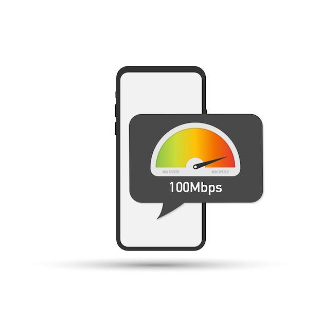 画面上のスピードテストとスマートフォンを持っている手。ベクトルイラスト Premiumベクター