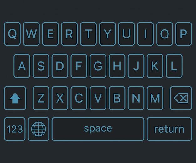 Современная клавиатура смартфона, кнопки алфавита. Premium векторы