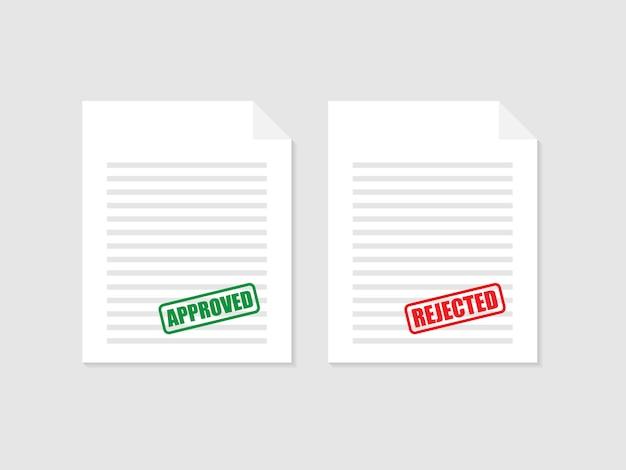 Утверждено и отклонено штамп на документе, зеленый и красный цвет. векторная иллюстрация Premium векторы