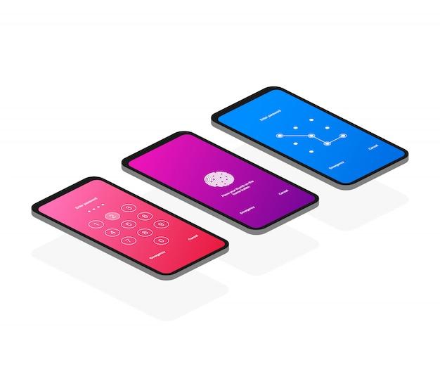 画面ロック認証パスワードスマートフォンアイソメトリック Premiumベクター