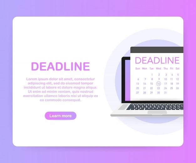Даты и сроки баннер. компьютер с календарем. , Premium векторы