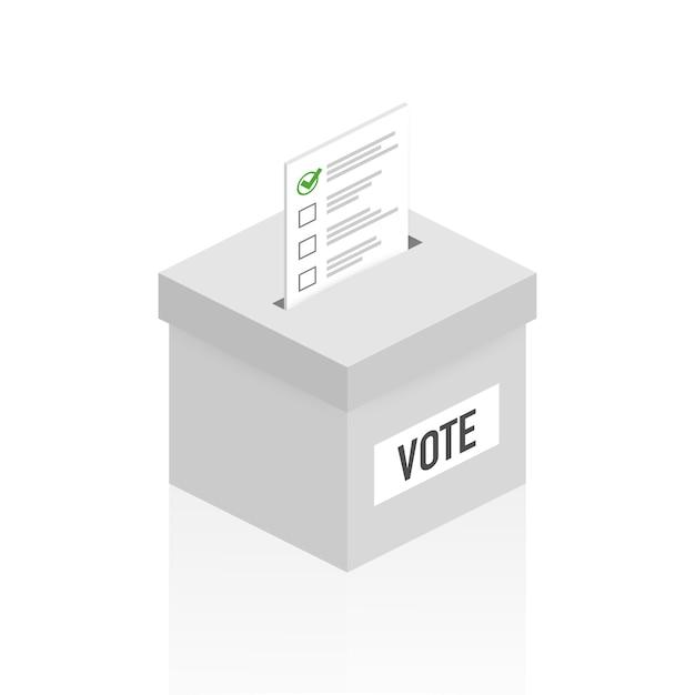 Концепция голосования в плоский - рука положить бумагу в урну для голосования. , Premium векторы