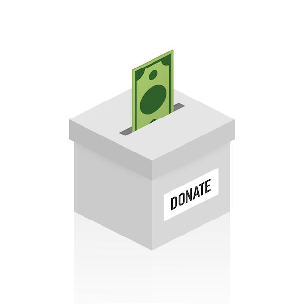 慈善、寄付のコンセプト。ボックスビジネス、金融でお金を寄付 Premiumベクター