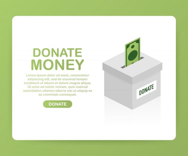 Благотворительность, пожертвование концепции. пожертвуйте деньги с коробкой бизнес, финансы Premium векторы