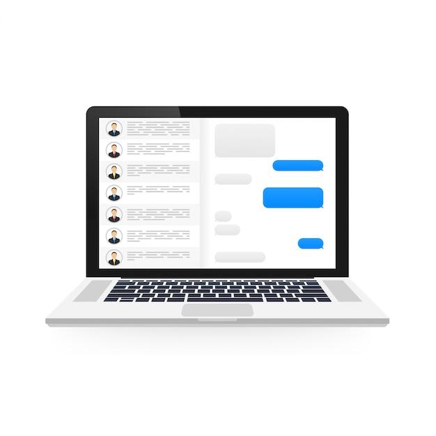 Концепция социальной сети. пустой шаблон ноутбук с приложением мессенджера Premium векторы