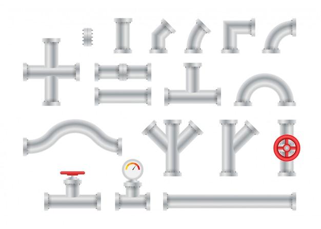 Детали труб разного типа, сборка водопроводной промышленности, строительство газовых клапанов. Premium векторы