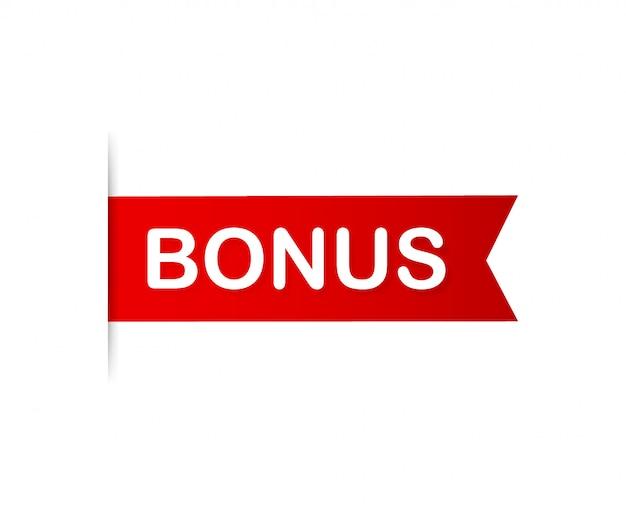 Бонус красного знамени. бонус за ленту. иллюстрации. Premium векторы
