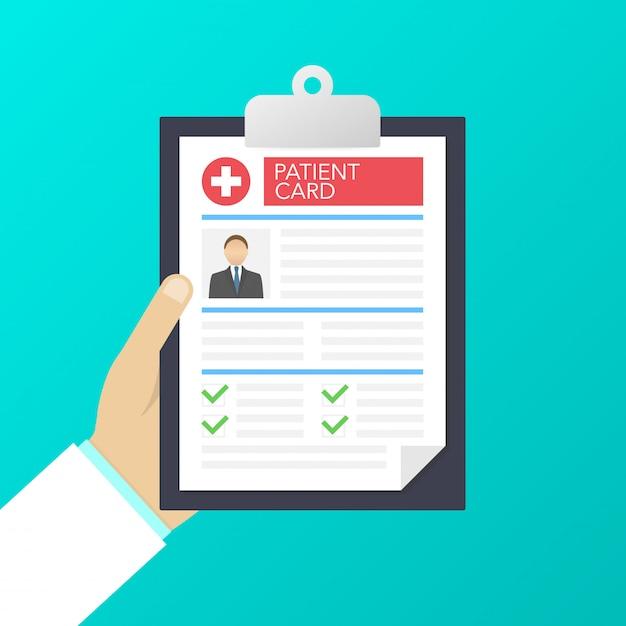 Буфер обмена в руках врачей. делайте записи в карточке пациента. медицинское заключение. анализ или рецепт. иллюстрация Premium векторы