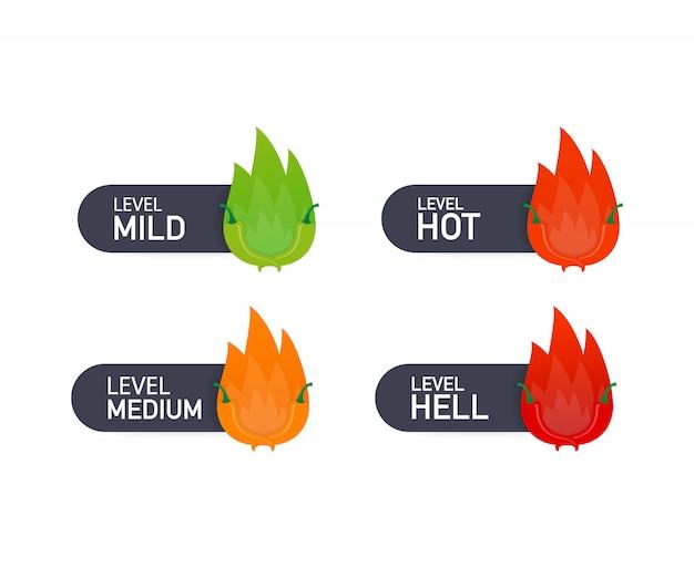 Индикатор шкалы силы красного перца с позициями мягкого, среднего, горячего и адского. иллюстрации. Premium векторы