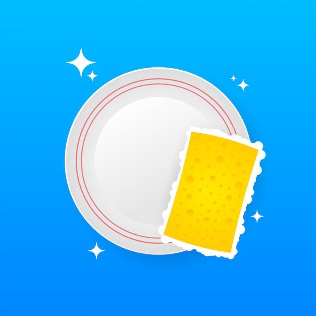 Мытье посуды, мытье посуды. средство для мытья посуды, посуда и желтая губка. Premium векторы