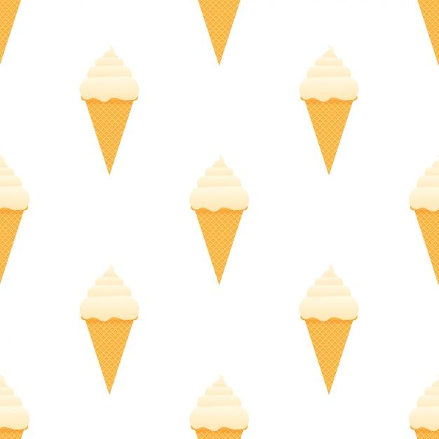 アイスクリームのシームレスパターン。 Premiumベクター