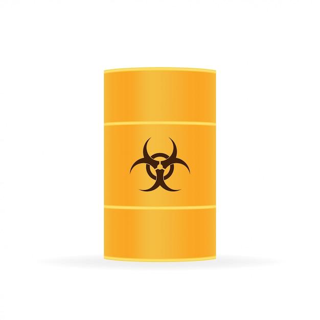 バイオハザード廃棄物、白の放射性廃棄物の樽。 Premiumベクター