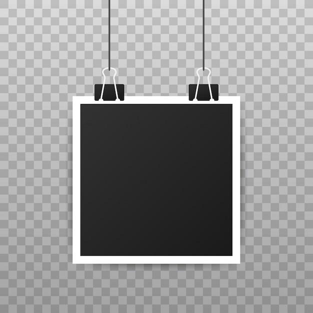 フォトフレームモックアップデザイン。あなたのイメージのための空白の現実的な写真。 Premiumベクター