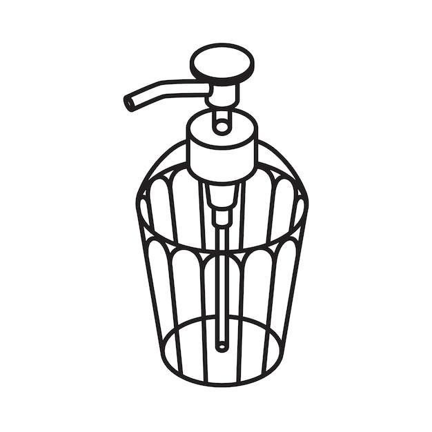 Значок жидкого мыла наброски. диспенсер изолированный Premium векторы