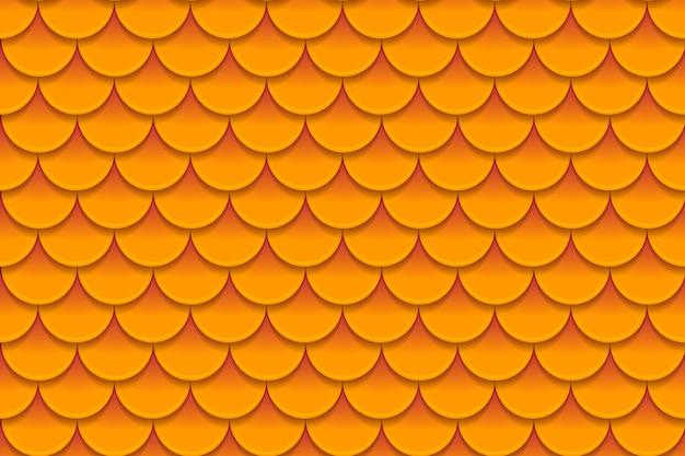 カラフルなオレンジ色の魚の鱗のシームレスパターン Premiumベクター