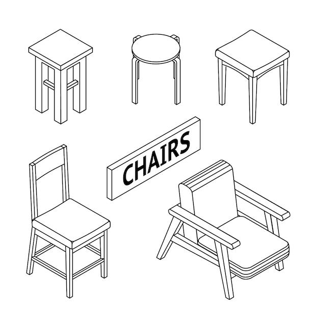 Изометрические стулья. Premium векторы