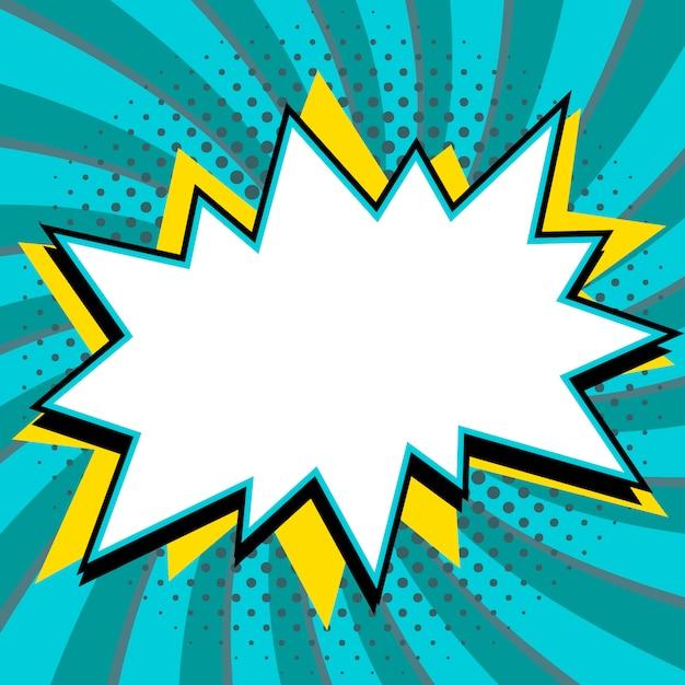 ポップアートスタイルの吹き出し。青いねじれた背景にコミックポップアートスタイルの空の強打の形。 Premiumベクター