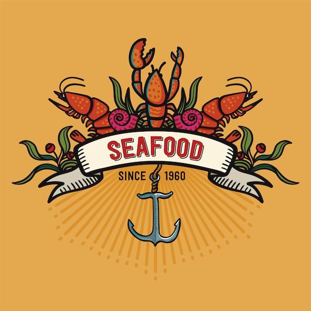 漫画のスタイルのシーフード。黄色の背景にレストランのロゴ Premiumベクター