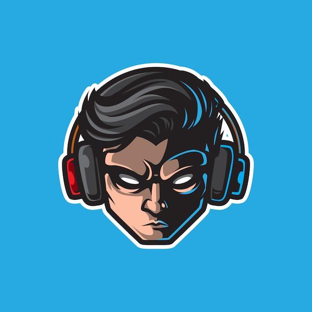 Геймер талисман логотип, значок игры Premium векторы