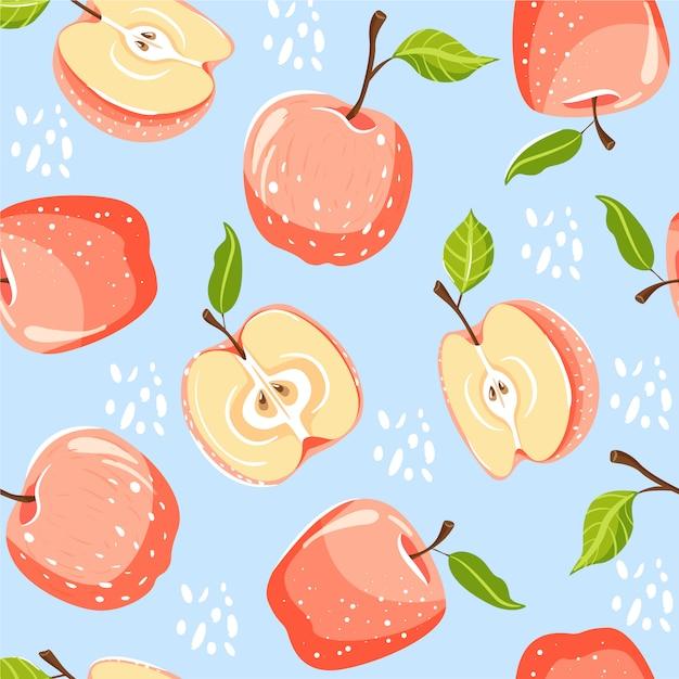Бесшовный фон с яблоками. Premium векторы