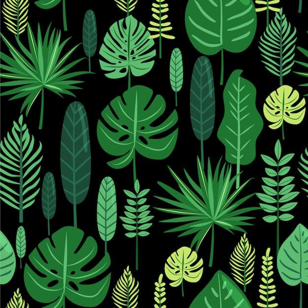 Тропические листья бесшовные модели. Premium векторы