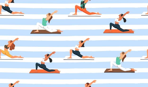 Бесшовные с женщинами, практикующими йогу. Premium векторы