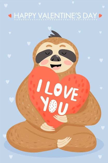 Ленивец в любви. валентинка Premium векторы