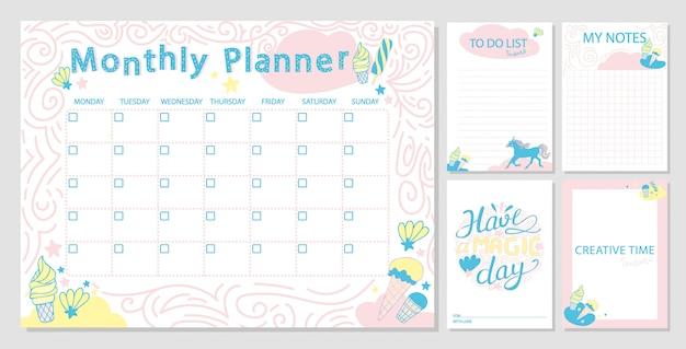 かわいい毎月のプランナーテンプレートと日記紙のノート。 Premiumベクター