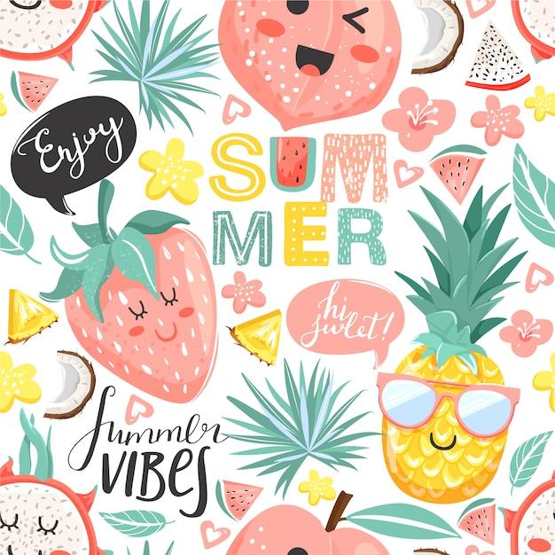夏のコラージュパイナップル、ピーチ、イチゴ、かわいい顔を持つドラゴンフルーツの文字とのシームレスなパターン。花、葉、レタリング。 Premiumベクター