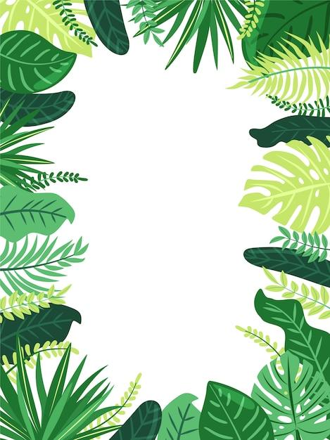 熱帯の葉のフレーム。エキゾチックなジャングルの植物の葉を持つイラスト。ジャングルスタイルコピースペースと白い背景の上のベクトル組成。 Premiumベクター